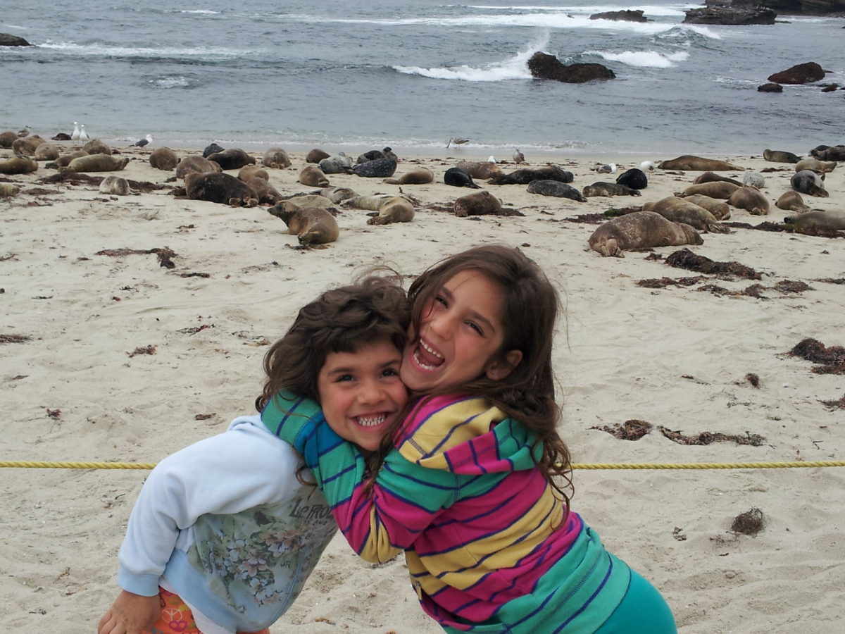 Our little girls were just having a ball with the sea lions at La Jolla Beach in San Diego.